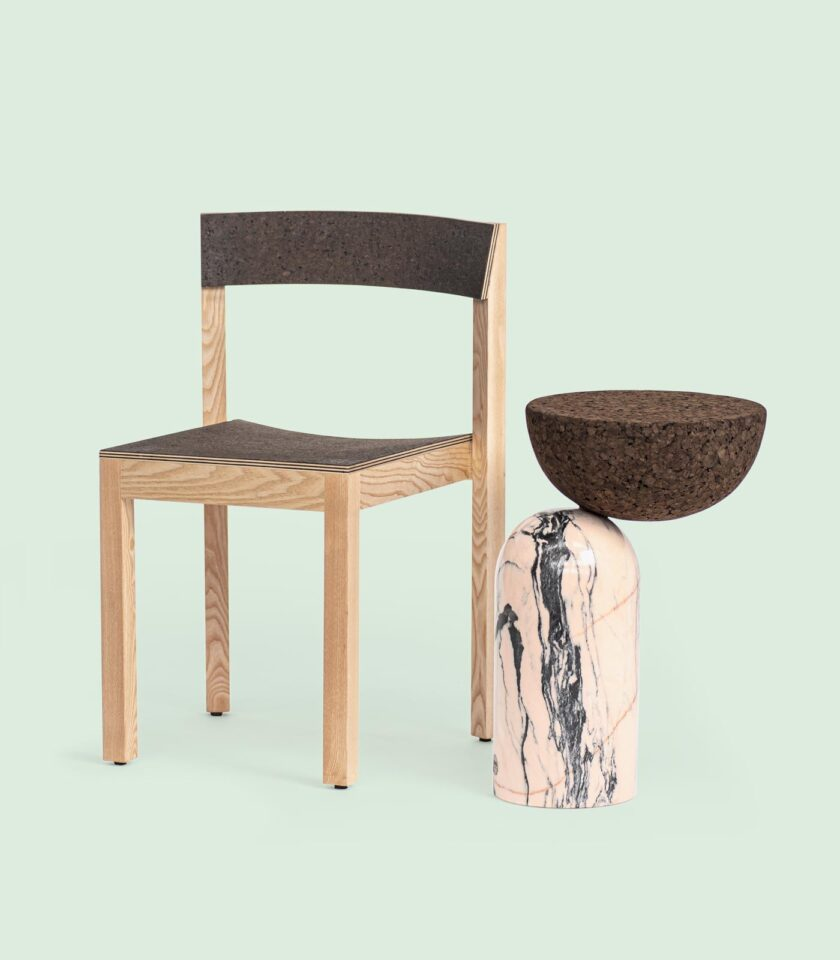 alice_dinning_wood_chair_celeste_marble_side_table_with_cork_tabletop_dam_portugal